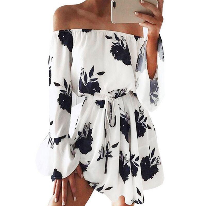Womens Spring Sexy Off Shoulder Mini Swing Dress Boho Floral Printed Long Flare Sleeves Drawstring Empire Waist Pleated Beach Casual Dresses
