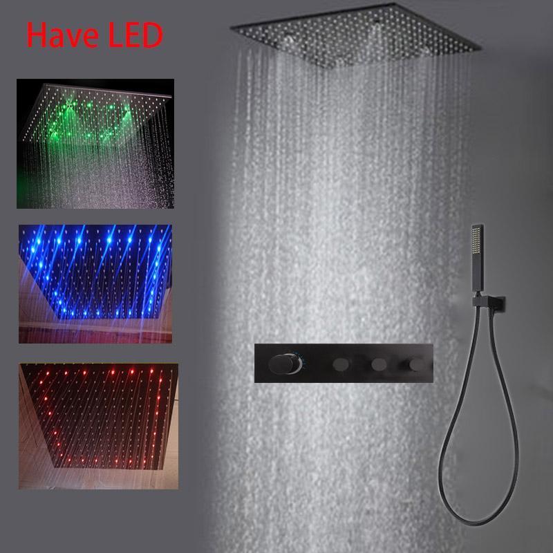 Термостатический светодиодный ванная комната для душа дождь набор черный клапан смесителя 3 способа с световой головкой потолочный SPA MUSY 20