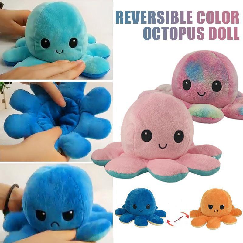 Poulpette réversible poulpe peluche jouet peluche animal soft animal accessoires jolis poupée animal poupée enfants cadeaux bébé filles garçons compagnon peluche jouet