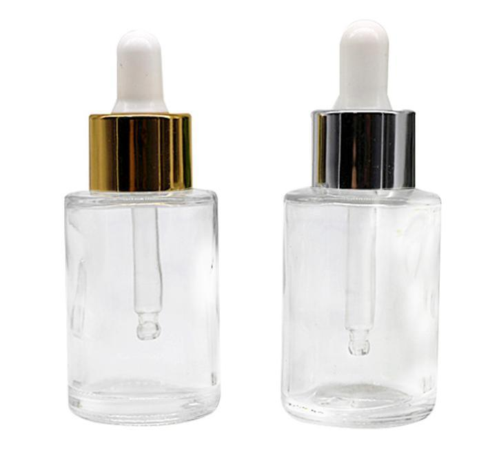 2021 Frosted Klare Rundglas Serum Troppfe Flaschen 20ml E Flüssigglas Kosmetikflasche mit Gold Silber Kappe