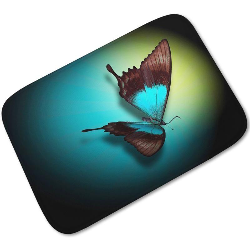 Tapis papillon toilette cuisine flanelle tapis tapis tapis d'eau absorbant antidérapant personnalisé imprimer paillouteux matelas