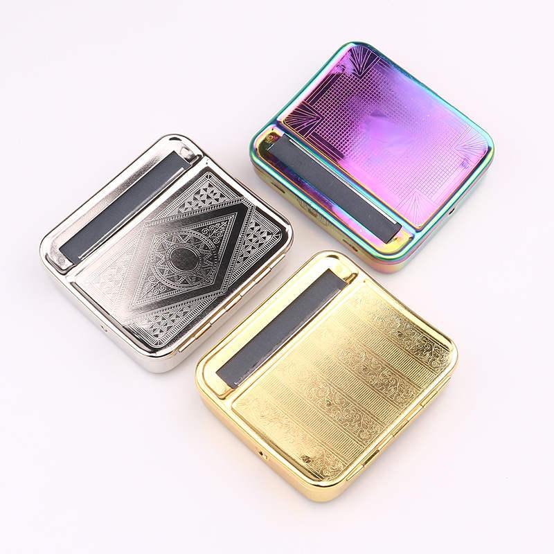Rauchen 78mm Zigarettenwalzmaschine Handbuch TACACCO ROLLED MACHINE Metall Silber Gold Holographische Prägung Hülle A02