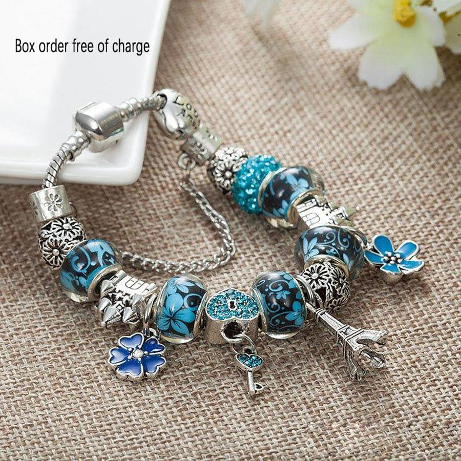 FAHMI original Charm Tower Pendant Bracelet for Pandora Platinum DIY Beaded Lady Elegant Bracelet with Original Box Holiday Gift