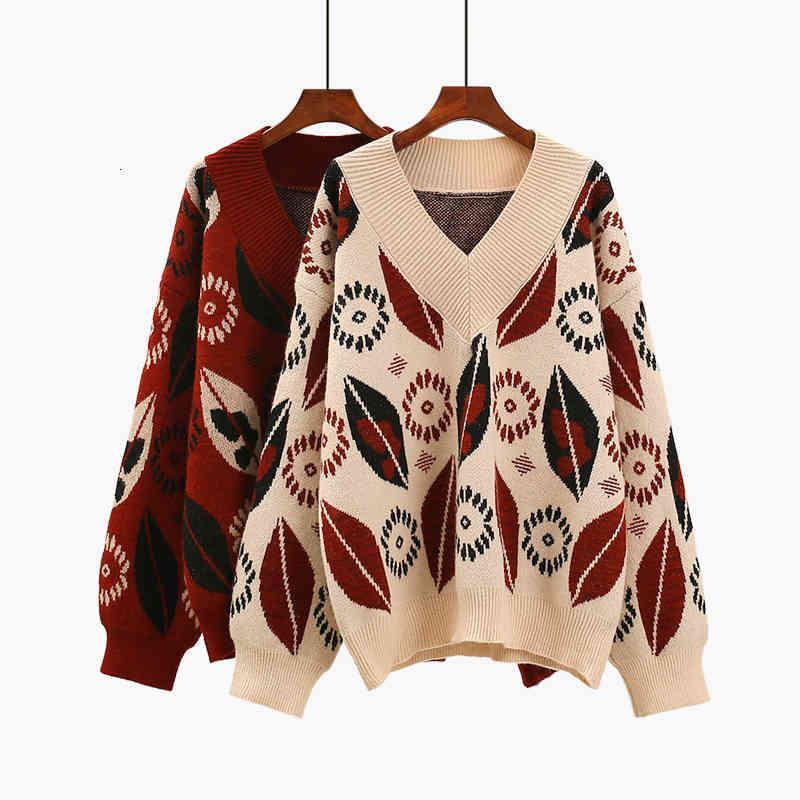 Suéteres Señoras Casual con cuello en V grueso Otoño desgaste de los estudiantes Jacquard sueltos Jacquard suéter