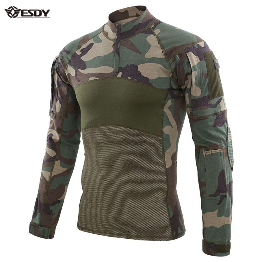 ESDY Camouflage Uniform Kampf Taktischer Frosch PAK Outdoor Yacht Militärische Kleidung Wandern Airsoft Sniper Shirt Jersey