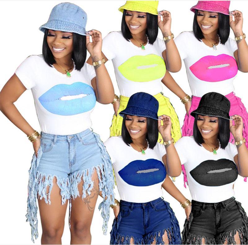 Women 2-piece Set Summer Fringe Tassel Denim Shorts And Lip Print T-shirt Tops Club Outfit Jeans Hight Waist Femme Skinny Slim Pants Jean 6 Colour Select