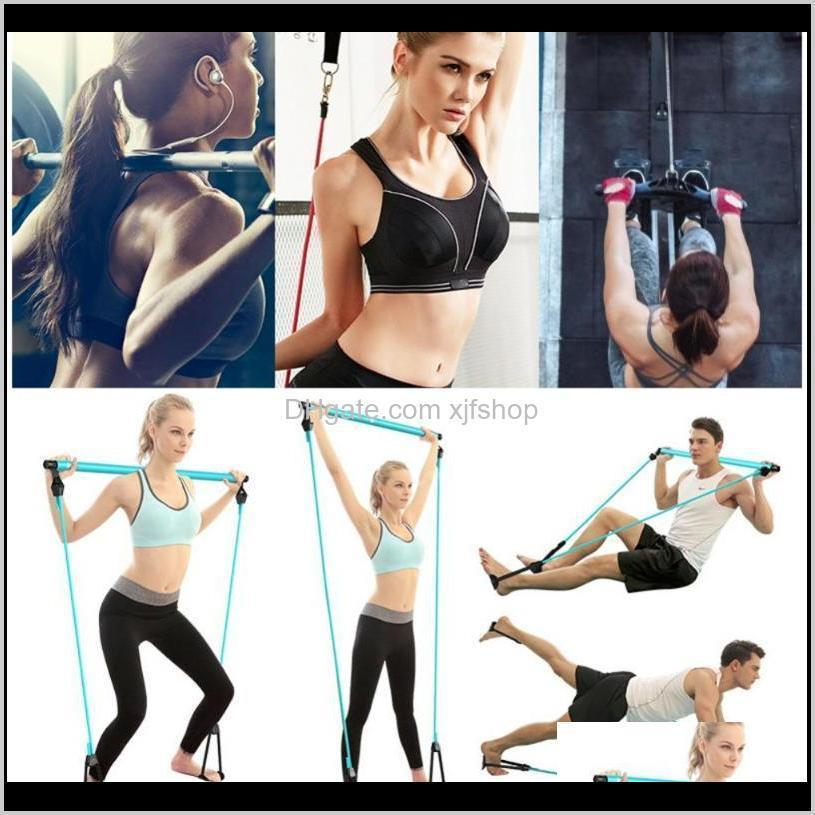 Integrated Equip Portable Kit Include Resistance Band Adjustable Pilates Exercise Stick Toning Bar Home Yoga Gym Fitness Body Workout Qo23V