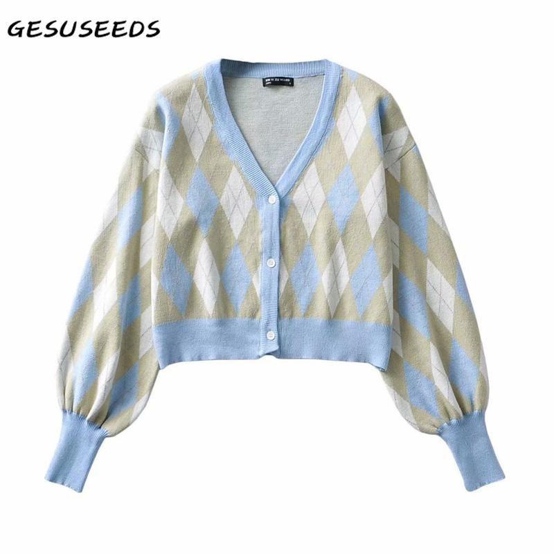 가을 한국어 자른 Cardigan 여성 아가일 스웨터 빈티지 긴 소매 2021 V 목 버튼 니트 블루 여성용 니트 티셔츠