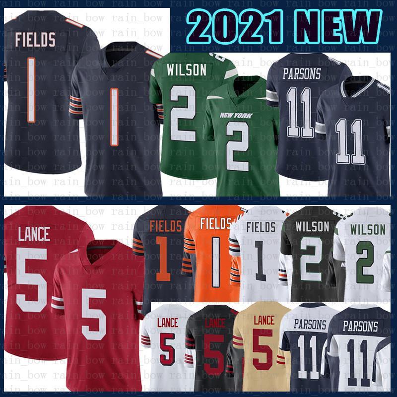 1 Justin Felder 5 Trey Lance 2 Zach Wilson 11 Micah Parsons Football Jersey Männer 2021 ChicagoBär DallasCowboy San New Francisco49ers.YorkJet