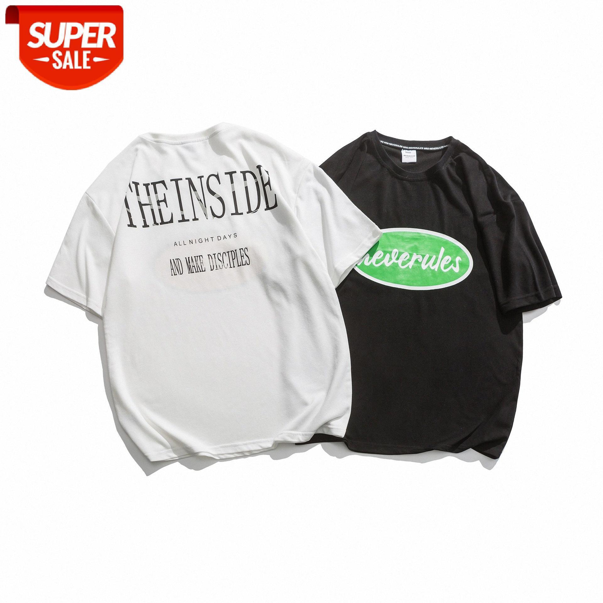 Kurzärmelige T-Shirt Herren Sommer Amerikaner Casual Street Trend Kreativer Brief Drucken Lose Rundhalseinheitspaar T-Stück # 3Y2V