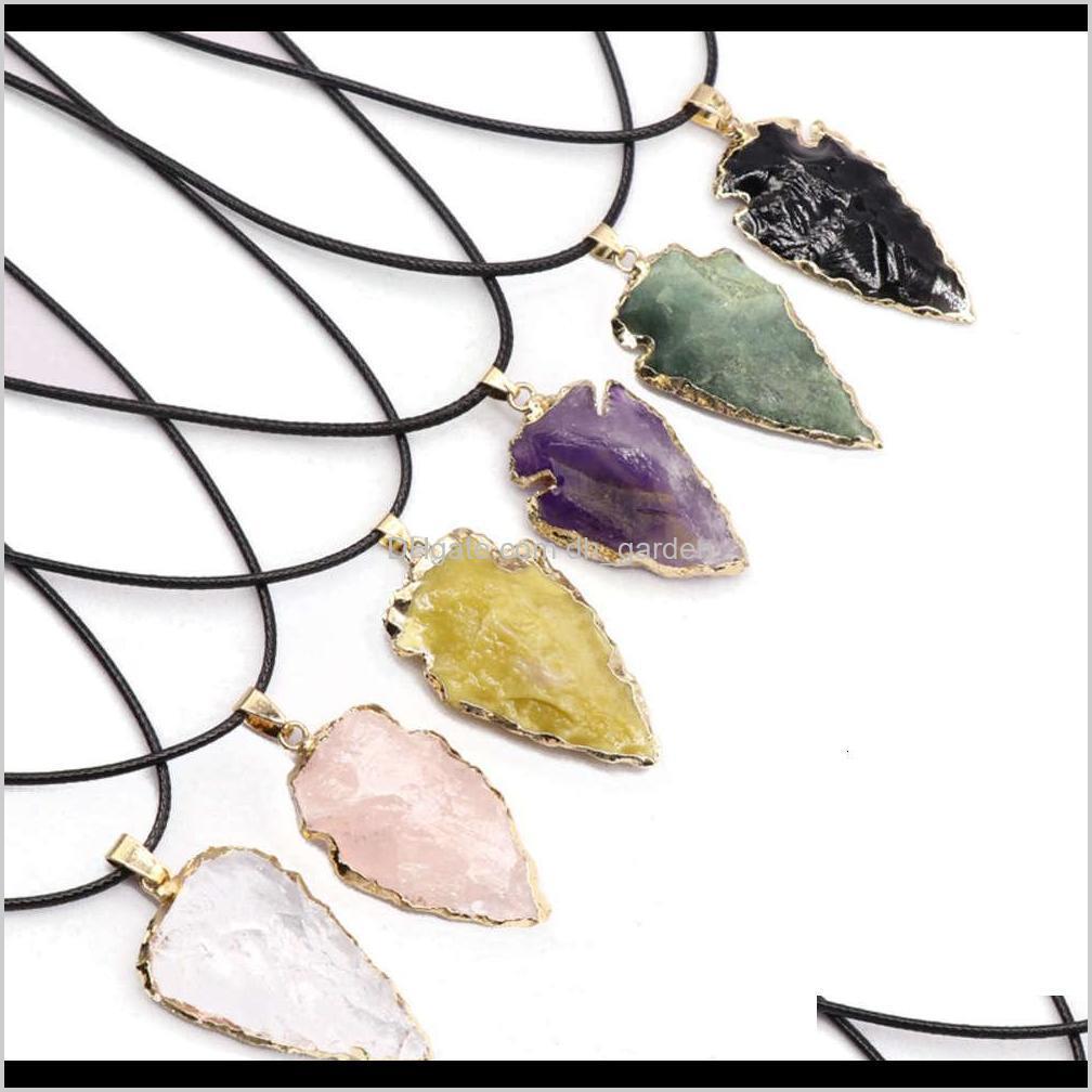 Autres colliers Pendentifs Drop Drop Livraison 2021 Bijoux Agate Obsidienne Seven Color Crystal Orne Orne Orne Arrow Pendentif Collier Accessoires 5CPX