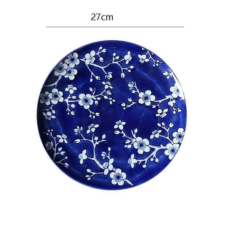 Exporter la porcelaine américaine sous glaçure couleur bleue et blanche plaque de style japonais avec plaque de motif de prune avec 10 steak