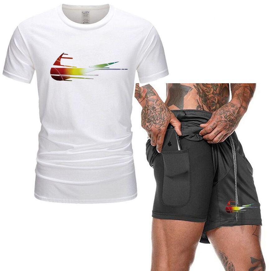 2021 Uomini Casual Tracksuit Set Fashion 2 Pz Suit Suit Suit manica corta T-shirt set set maschio abbigliamento sportivo estate
