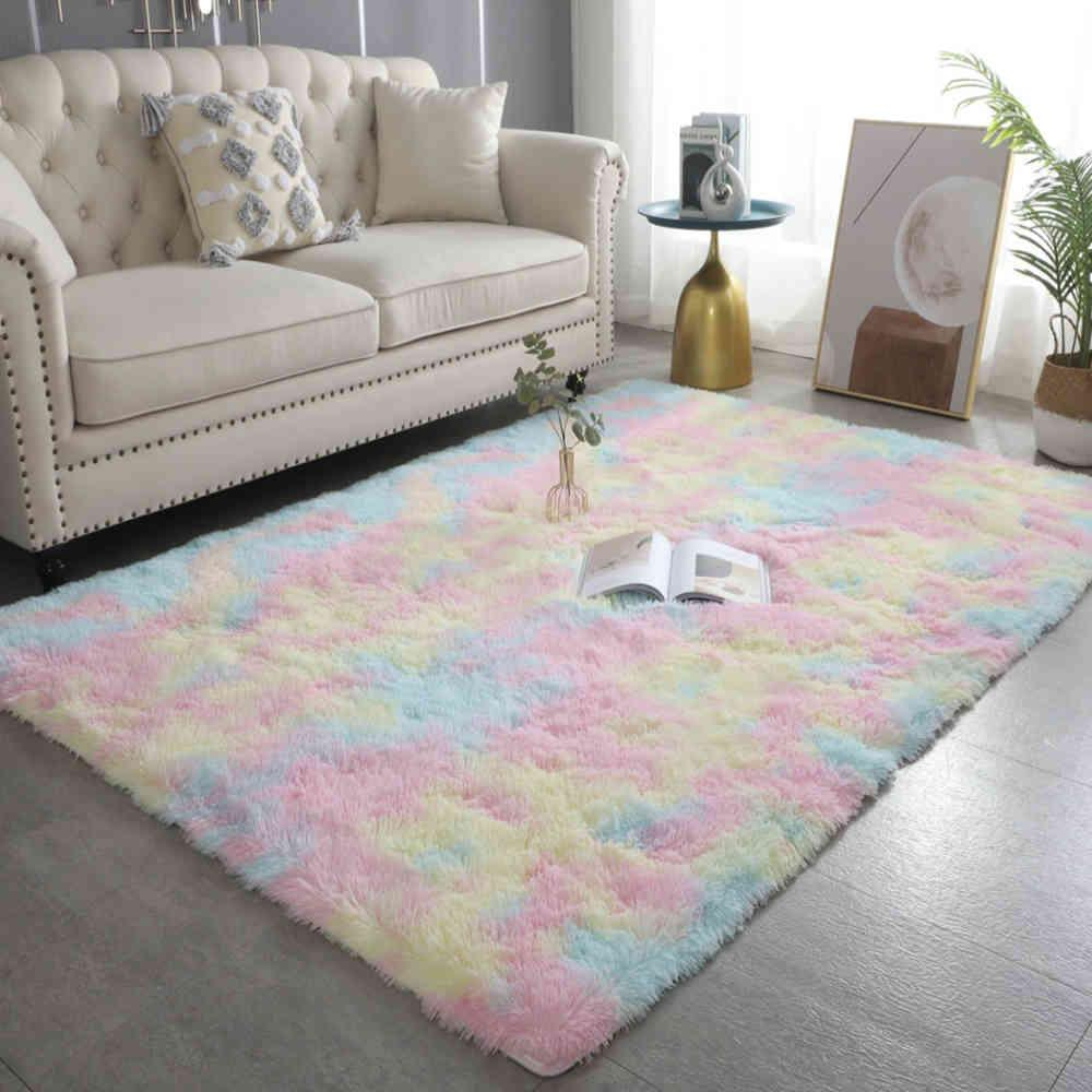 New Colorful Carpets Shaggy Carpet Living Room Bedside Rugs Rainbow Color Soft Fluffy Plush carpet For Bedroom Home Decor