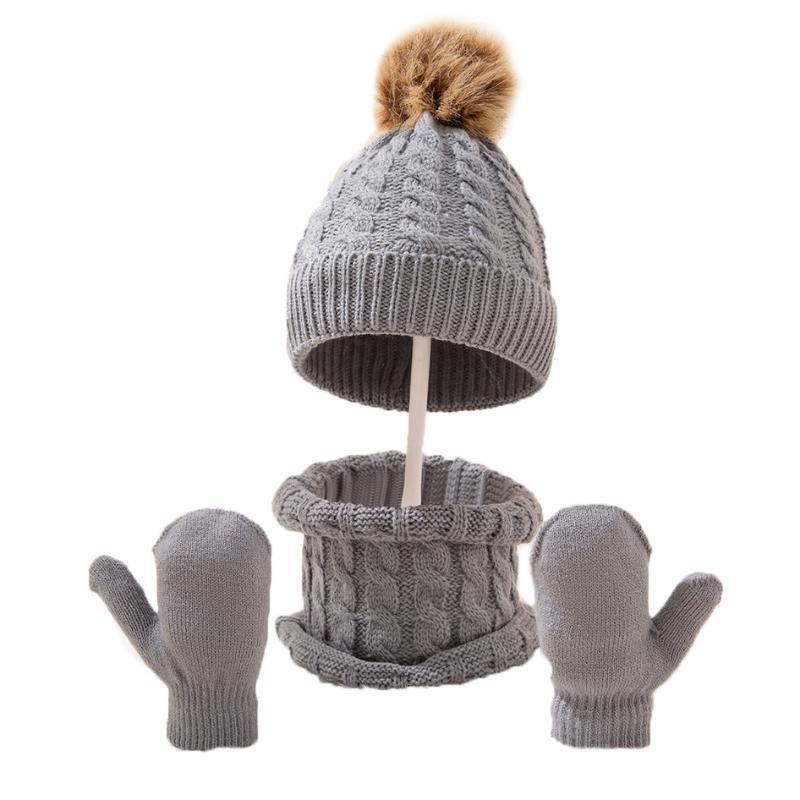 Caps & Hats 2/3PCS Baby Hat Scarf Gloves Set Pom Kids Beanie Toddler Bonnet For Boy Girl Born Infant Accessories