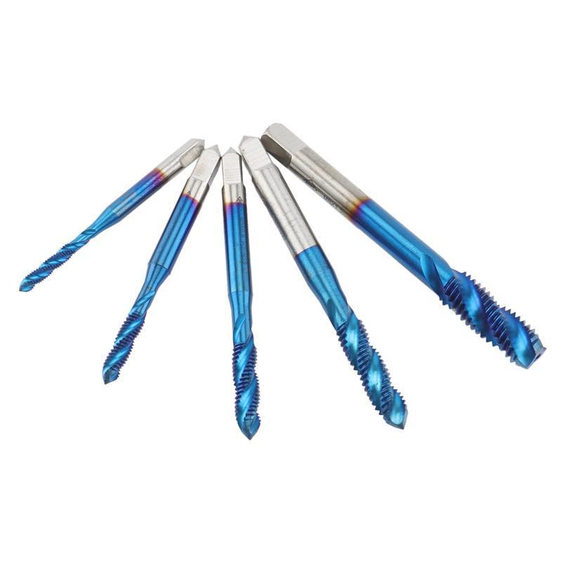الأدوات اليدوية ABBF موضوع الحنفية مجموعة 5 قطع M3-M4-M5-M6-M8 HSS برغي حفر نانو الأزرق المغلفة الخيوط الأيمن