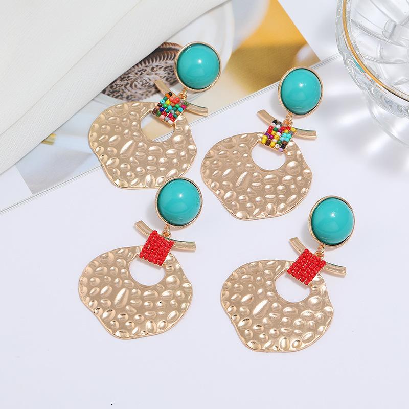 Za Même style Style exagéré Pendentif en métal géométrique Creative Perles Creative Boucles d'oreilles polyvalentes