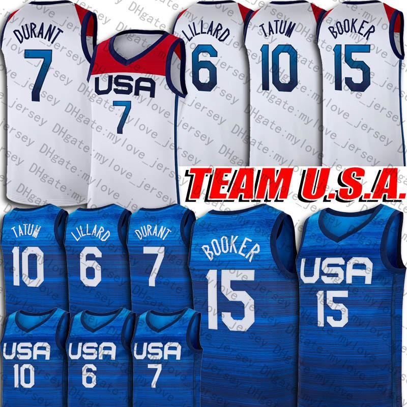 Devin 15 Booker Kevin 7 Durant Jersey Team EE.UU. 2020 Jersey Olympics de verano Damian 6 Lillard Jayson 10 Tatum Jersey