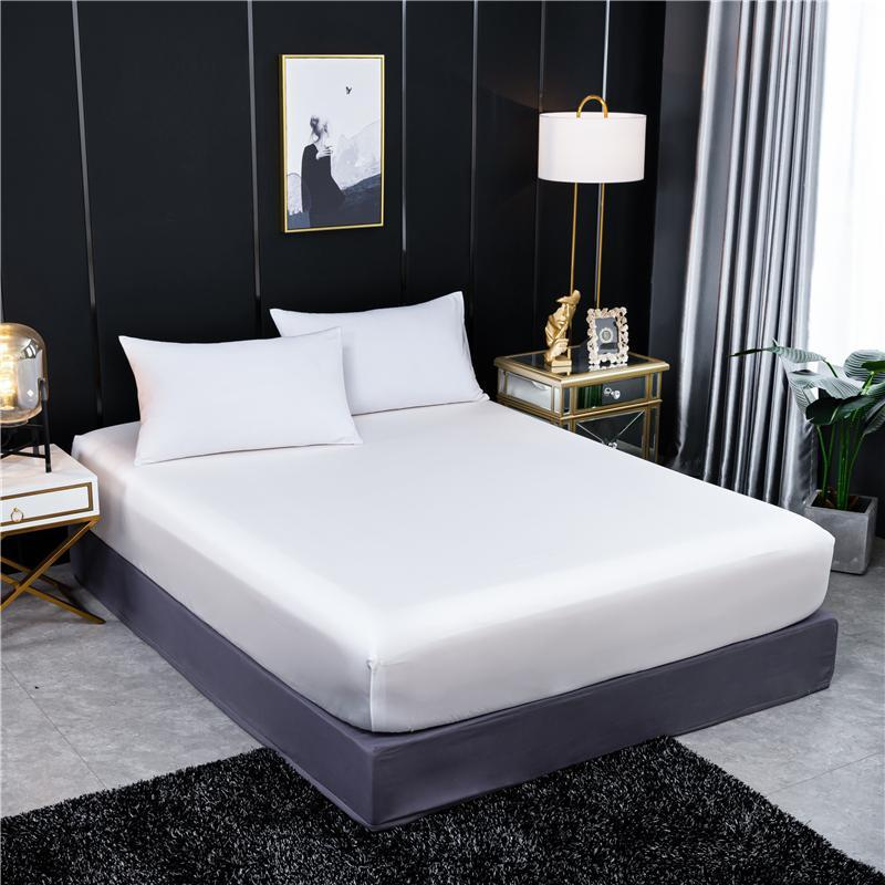 Sheets & Sets Fitted Sheet Natural Mulberry Silk Elastic Band Bed Luxury Solid Color Double Queen Size Real Mattress Cover
