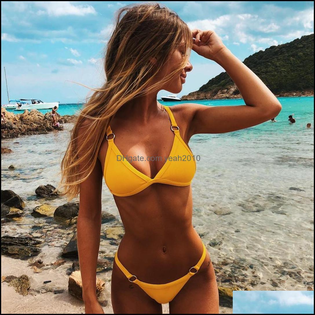 Bikinis Swimming Equipment Sports & Outdoorscreative Color Thong Triangle Bikini Set European American Style Women Sexy Beach Wears Trendy D