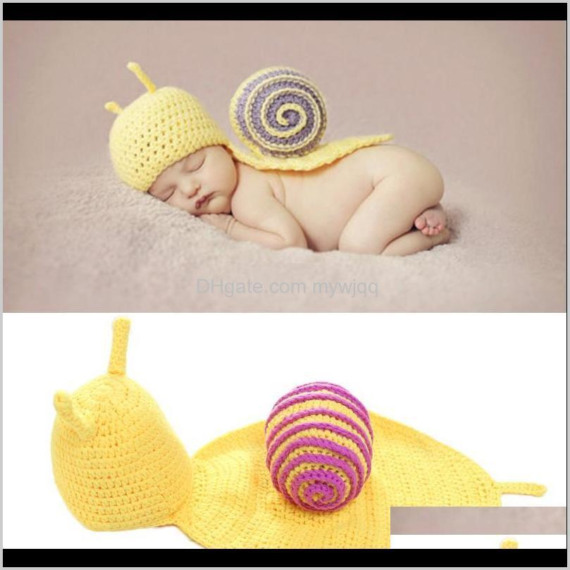 Hats Baby, Kids & Maternity Drop Delivery 2021 Snail Baby Pography Props Costumes Infant Knitted Crochet Hat Caps Born Po Prop Beanie Picture