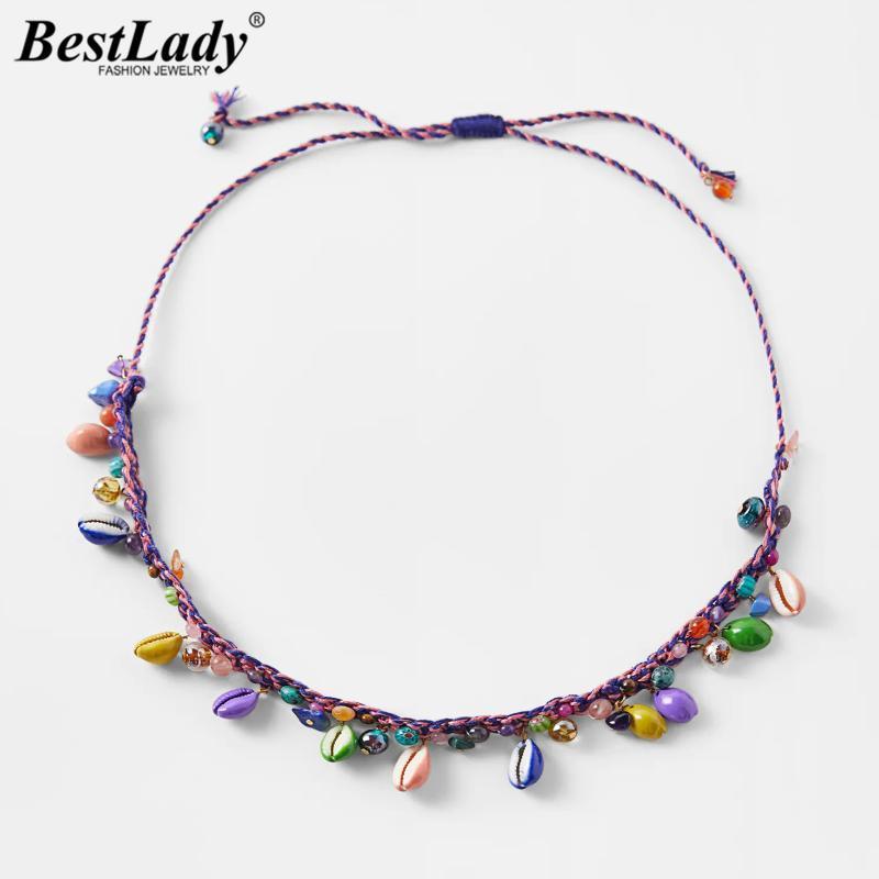 Lady Est Collar de concha de cuentas para mujeres Bohemian Multicolor Nature Stone Cordón tejido de la joyería de la boda Regalos Colgantes Collares
