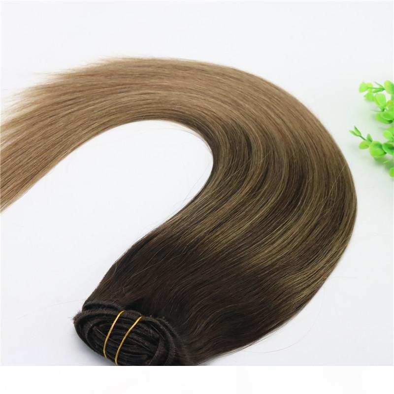 8A 7 adet 120gram 14 inç 18 inç 20 inç 24 inç Klip İnsan Saç Uzantıları Ombre Koyu Kahverengi Açık Kahverengi Balayage Highlights Hairstyle