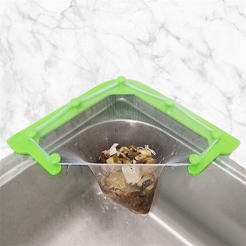Pia de cozinha Pendurado Net Rack Filter Sobras Lavagem de triângulo de lavagem com 50 sacos descartáveis Ganchos Rails 1444 v2