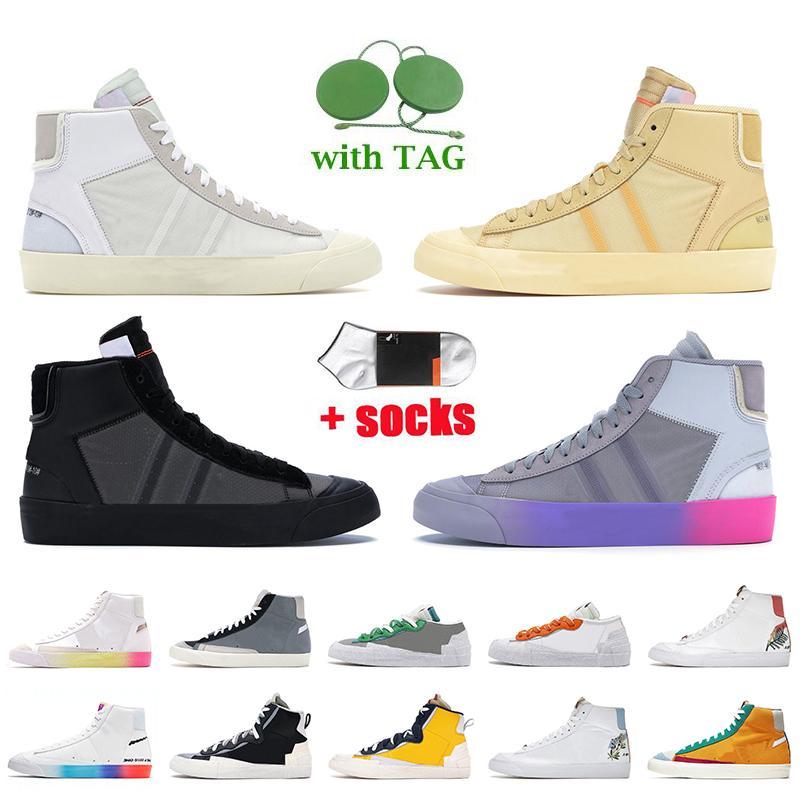 Off White Nike Blazer Mid 77 Vintage النساء الرجال عارضة الأحذية غريم ريبر وولف رمادي Serena Queen Indigo Catechu Platform Trainers Low Classic Green Sneakers