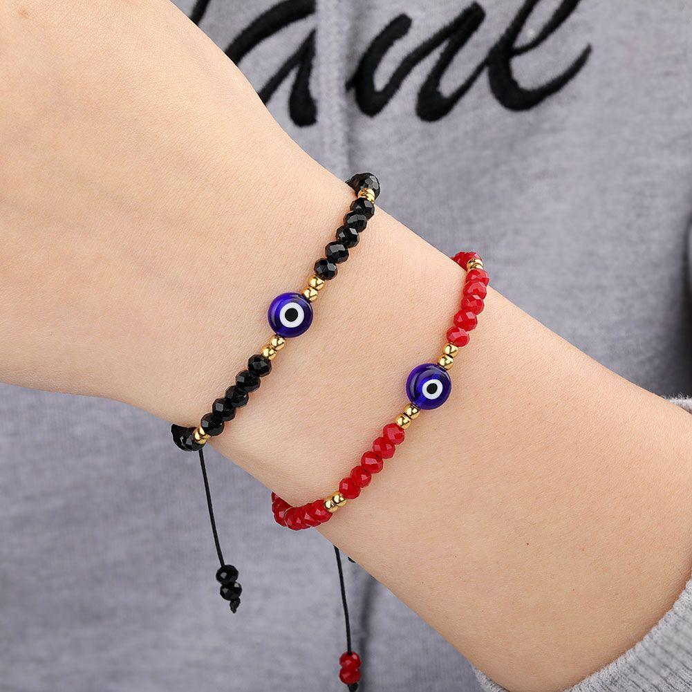 مضفر الشر الأزرق العين سوار اليدوية مجوهرات ملونة كريستال الخرز أساور للنساء فتاة
