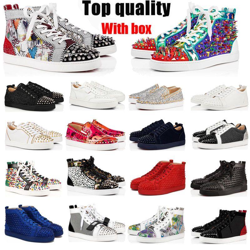Vermelho Bottom Sapatos Casuais Homens Mulheres Studded Spikes Alta Moda Moda Top Quality Suede Couro Flat Bottoms Party Lovers Tamanho 36 ~ 48 com caixa