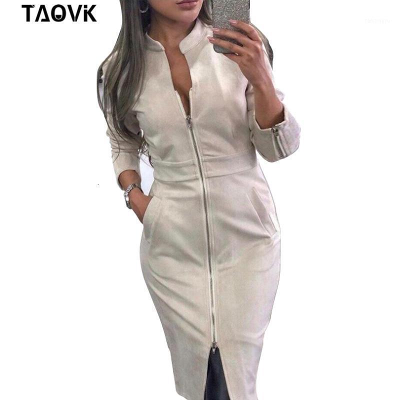 Taovk vestido feminino manga comprida bodycon zíperes vintage stand gola vestidos femininos1