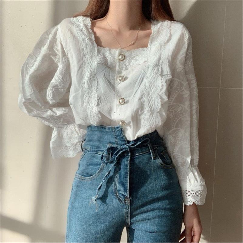 Stylish Hollow Out Square Collar Women Blouses Palace Style Pearls Gentle Flare Sleeved Chic Brief All Match Shirts