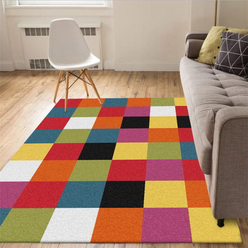 Carpets Rugs For Children Rooms Nordic Colorful Square Pattern Thickened Carpet Bedroom Living Room Hand Wash