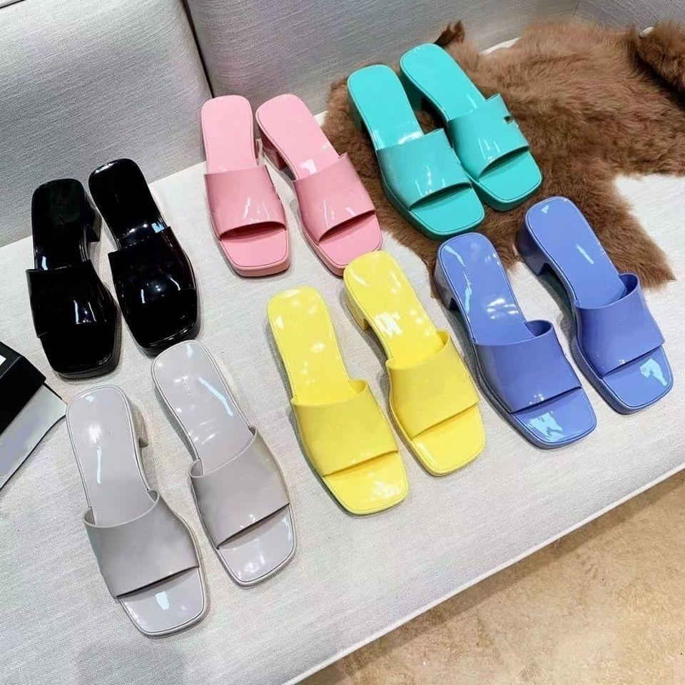 Kadın Terlik Moda Plaj Kalın Alt Terlik Platformu Alfabe Lady Sandalet Deri Yüksek Topuk Slaytlar