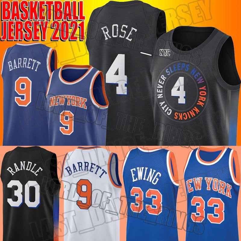 "RJ 9 Barrett Jersey Derrick 4 Rose Trikots Julius 30 Randle Jersey Throwback Patrick 33 Ewing New York ""Knicks"" Jersey"