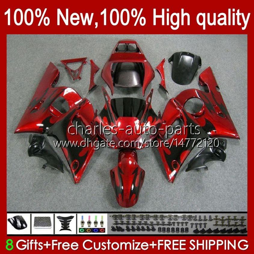 Kit de carenajes para Yamaha yzf R6 R 6 yzf600 600cc 98-02 Bodywork 1NO.0 YZF 600 CC YZF-600 YZFR6 98 99 00 01 02 YZF-R6 1998 1999 2000 2001 2002 ABS Cuerpo completo negro llamas negras