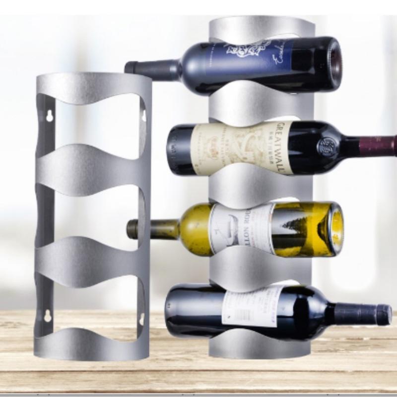 رفوف النبيذ المنضدية الإبداعية الفولاذ المقاوم للصدأ الجدار شنت حامل شريط المنزل العنب رف زجاجة عرض موقف المنظم WJB41510