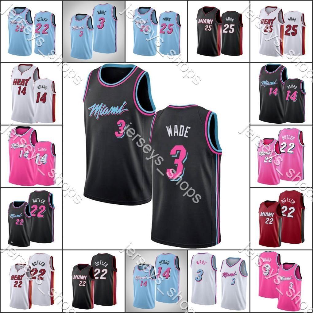 Mens MiamiHeatJerseys Dwyane Wade 3 Tyler Herro Jimmy Butler Kendrick Nunn 2019-20 Basketball Jersey Shorts Cheap
