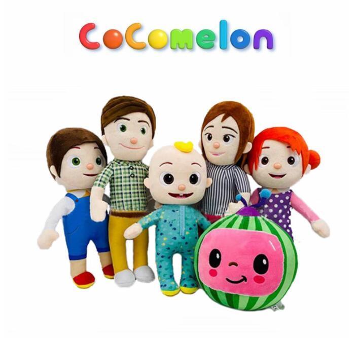 Cocomelonぬいぐるみぬいぐるみ人形柔らかい漫画のアニメの就寝時間スイカの豪華なおもちゃJJ家族の教育子供ギフトPlushie CA21