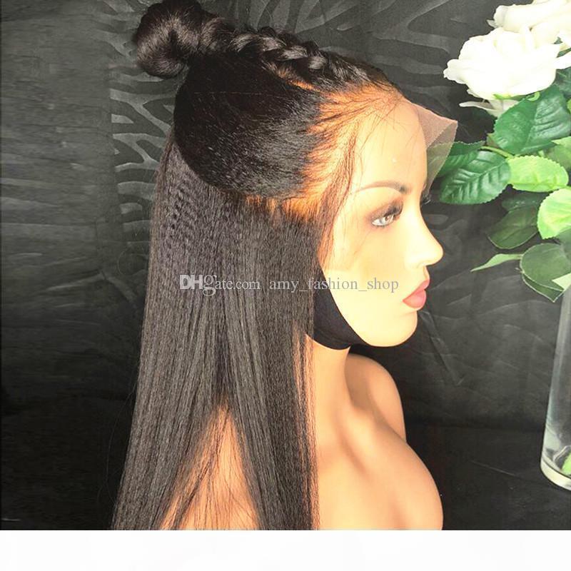 Işık Yaki Düz 13x6 Dantel Frontal İnsan Saç Peruk Brezilyalı İtalyan Yaki Peruk 8-26 '' Remy Ipek Üst İnsan Saç Peruk Elastik