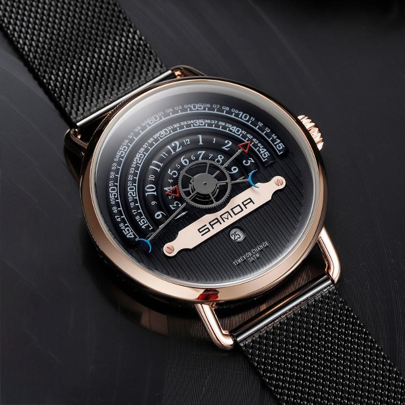 Наручные часы Sanda Мужские Роскошные Бизнес Кварц Военные Часы Мода Черная Розовая Золотой Из Нержавеющей Стали Наручные Часы Часы Дата Relogio