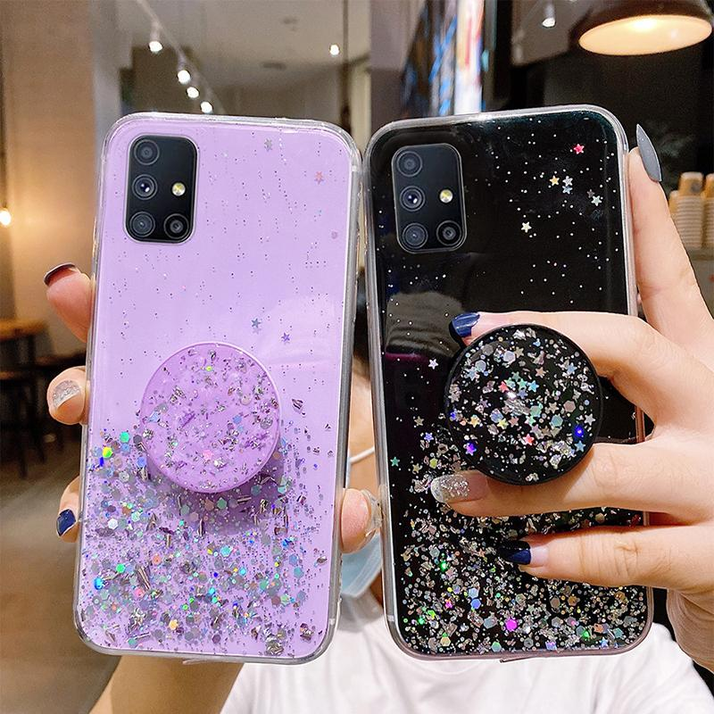 Cases For Samsung Galaxy A02S A12 A42 A71 A51 A21S M51 M31S S21 Ultra S20 FE S10 Plus Note 10 Lite With Stand Holder Cover