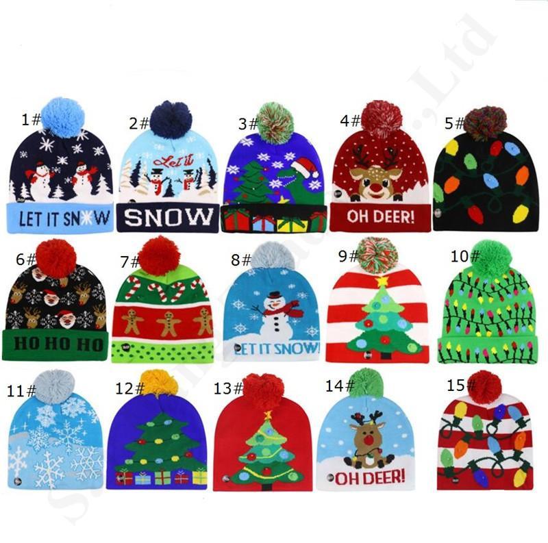 Weihnachten LED-Mützen Kinder Pompom Winter Hüte Nacht Leuchtendes Licht Schneemann Elch X-Mas Baum Strick Schädelkappen Outdoor Party Erwachsene Hut A120502