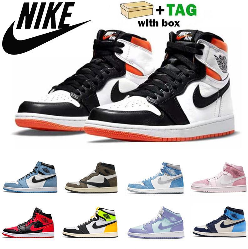 air jordan jordans jordon jordons aj 1 retro Jumpman Silver Toe 1 1s Uomini scarpe da basket 2021 High Dark Moka Banned Shadow Unc brevetto universitario blu luce fumo grigio