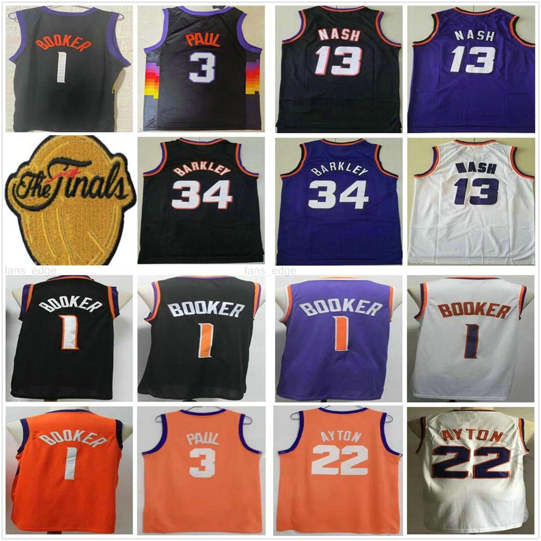 2021 Final Yama Güneşleri Devin 1 Booker Chris 3 Paul Basketbol Formaları Phoenix Deandre 22 Ayton Retro Charles 34 Barkley Steve 13 Nash Mor Siyah Beyaz Gömlek