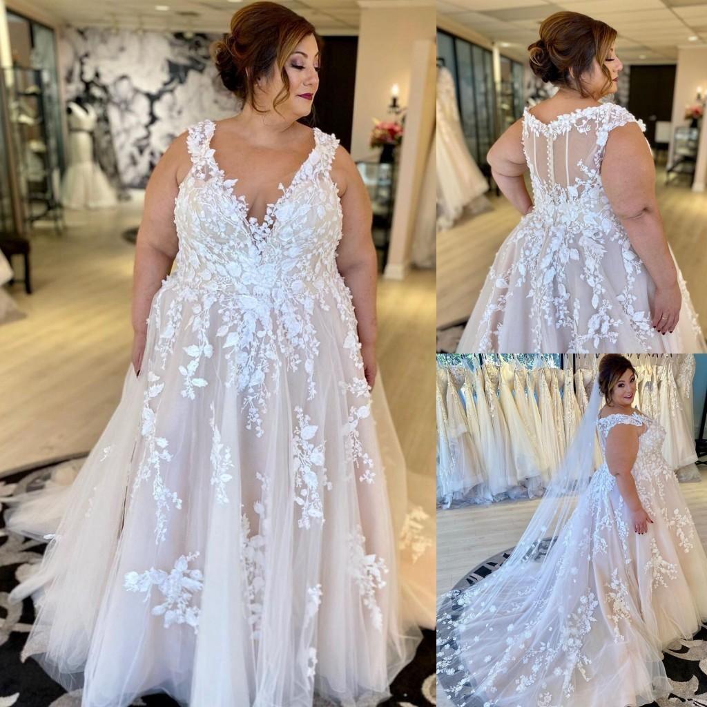 Tasarımcı Dantel Artı Boyutu Gelinlik Bir Çizgi V Boyun Zip Geri Allık Büyük Bayan Gelinlikler Mahkemesi Tren Avustralya Açık Evlilik Elbise
