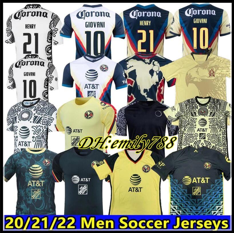 Liga MX 21 22 Club America Soccer Jerseys 그린 제 3 헨리 3RD Giovani Caceres B.Valdez 2021 홈 멀리 Maillot 남자 키트 풋볼 훈련 셔츠
