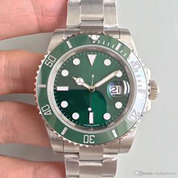 Herren Watch 116610 Männer Automatische Saphir Edelstahl fest Gleitelock Black Keramik Lünette Green Face Männliche Uhren Armbanduhren