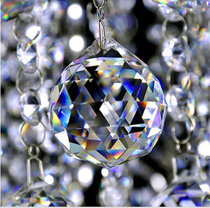20mm clair verre cristal bille prisme lustique pendentifs perles lampe lumière gouttes gouttes prismes suspendus bricolage ewf6409